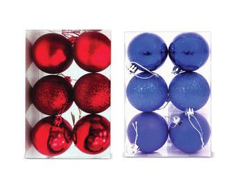 Набір ялинкових кульок 4 см, пластик, 6 шт./уп.