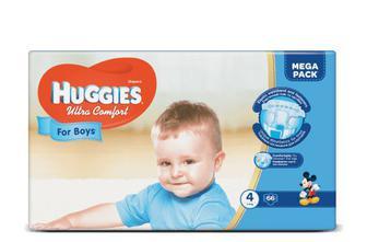Підгузки Huggies Ultra Comfort для хлопчиків 4 (8-14 кг) 66 шт