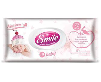 Серветки вологі з клапаном Smile Baby для немовлят, 72шт./уп