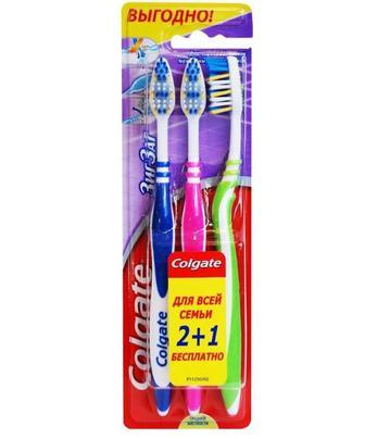 Зубная щетка Colgate Зиг-Заг плюс средняя 2+1 Бесплатно