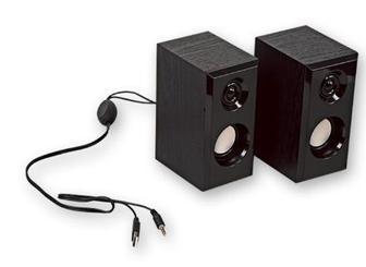 Колонки комп'ютерні, з дерев'яним корпусом, USB, 2 х 2,5 Ват