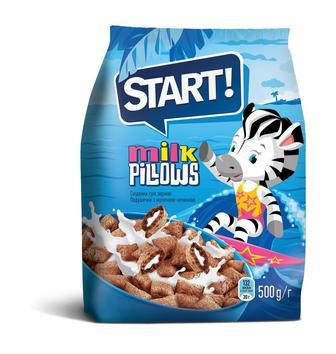 Сухі сніданки Подушечки з какао/з молочною начинкою Start 500г
