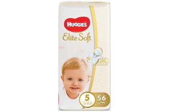 Підгузки Huggies Elite Soft Mega Pack 5 (12–22 кг) 56 шт./уп