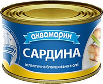 Рибні консерви Аквамарин Сардина бланш.в олії 230г
