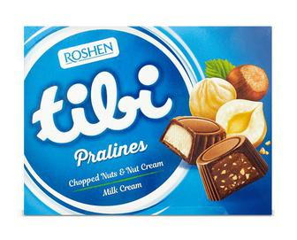 Скидка 34% ▷ Цукерки Roshen Tibi Pralines Chopped Nut&Nut Cream, 117г