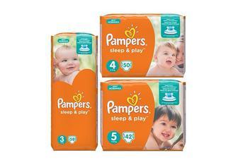 Підгузники Sleep & Play Розмір 3 - 58 шт. Розмір 4 - 50 шт. Розмір 5 - 42 шт.  Pampers