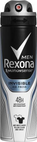 Антиперспірант для чоловіків Rexona аерозоль Invisible ice проти білих слідів 150 мл спрей