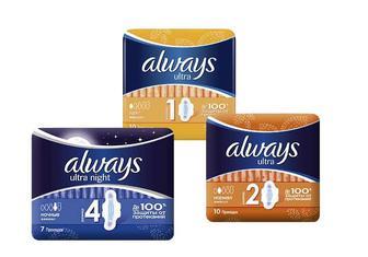 Прокладки гігієнічні Ultra Light / Normal/Night «Always» - 10/10/7 шт