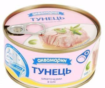 Скидка 16% ▷ Тунець філе в олії, Аквамарин, 185г