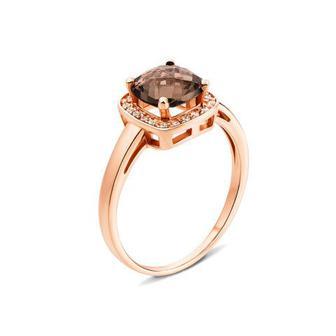 Скидка 31% ▷ Золотое кольцо с раухтопазом и фианитами (530193/01/0/5273)