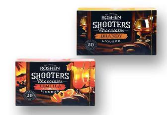 Цукерки Shooters  Бренді лікер/ Текіла Санрайз лікер, шоколадні  Roshen 150 г