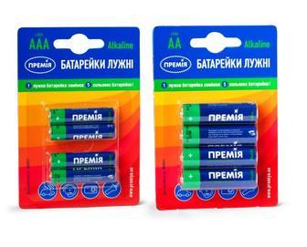 Батарейки лужні AAA LR03/AA LR06, Премія, 4 шт./уп