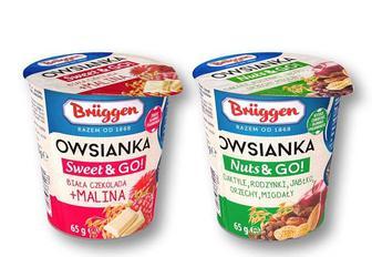 Пластівці вівсяні, з білим шоколадом та малиною/ з сушеними фруктами та горіхами Bruggen 65 г