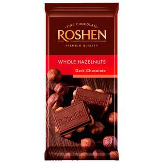 Шоколад Roshen екстрачорний з цілими ліс.горіхами 90г