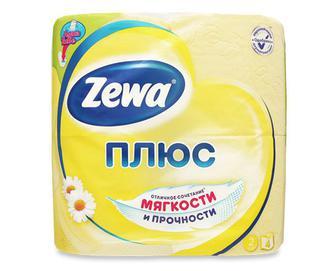 Папір туалетний Zewa Плюс «Ромашка» 2-шаровий жовтий, 4 рулони/уп