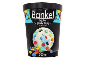 Морозиво Banket пломбір зі смаком жувальної гумки з кольоровим драже 500г Ласунка