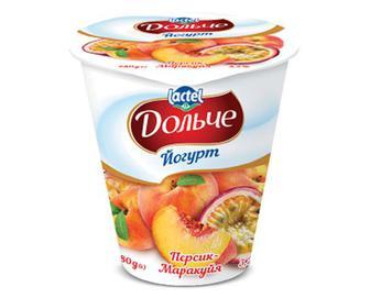 Йогурт «Дольче» з наповнювач персик-маракуя, 3,2%, 280г