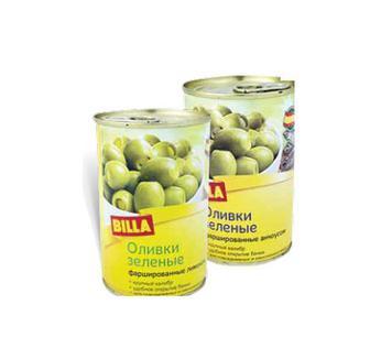Оливки зелені з анчоусом та з лимоном BILLA 314 г