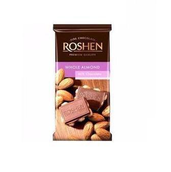 Шоколад молочний/екстрачорний, з цілими лісовими горіхами 90 г Рошен