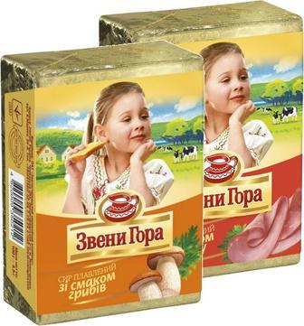 Сир Звенигора смак бекону та Оригінальний плавл.брикет 45%90