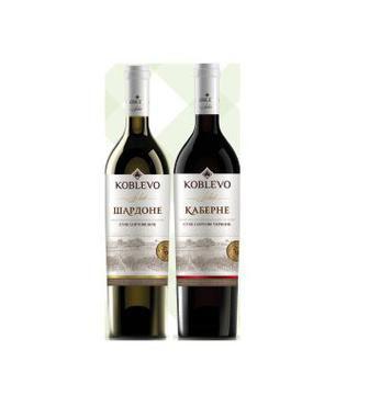 Вино сухе Каберне червоне, Шардоне біле 0,75л Koblevo