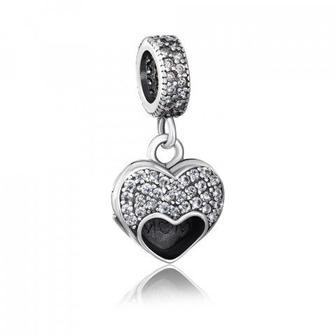 Серебряная бусина шарм «Сердце» с фианитами. Артикул QPBAJ01138-P/12/1