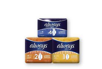 Прокладки гігієнічні Ultra Light, 10 шт. Ultra Normal, 10 шт. Ultra Night, 7шт. Always