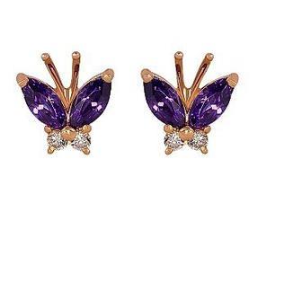 Золотые серьги Бабочки с фианитами
