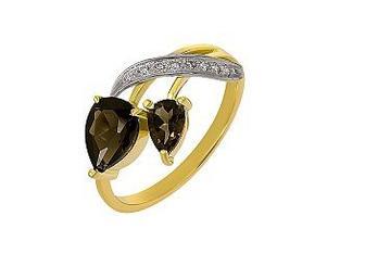 Золотое кольцо Ветка с кварцем и фианитами