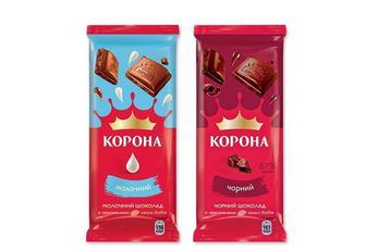 Шоколад чорний, молочний Корона 85г