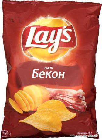 Чіпси Lays зі смаком бекону 133г
