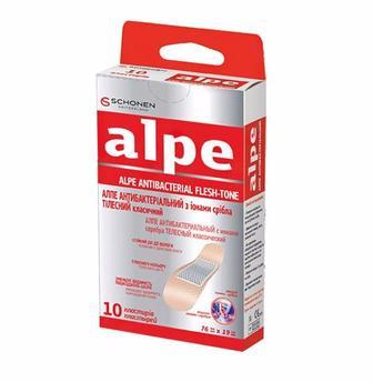 Лейкопластырь АЛПЕ телесный антибактериальный с ионами серебра (76x19 мм) №10