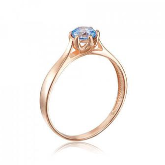 Золотое кольцо с фианитом Swarovski. Артикул 12138/01/0/1364