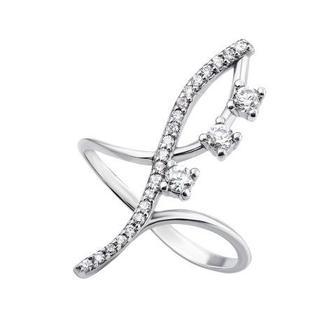 Фаланговое серебряное кольцо с фианитами. Артикул AZ01083/1