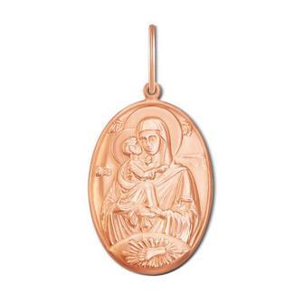 Золотая подвеска-иконка Божией Матери «Владимирская».