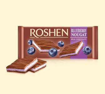 Шоколад молочний з чорничною нугою 90г Roshen