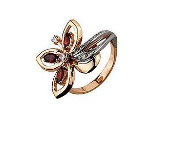 Золотое кольцо Цветок c гранатами и фианитами