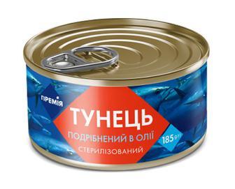 Тунець «Премія»® подрібнений стерилізований в олії, 185г