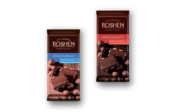 Шоколад молочний/екстрачорний з цілими лісовими горіхами  Рошен  90 г