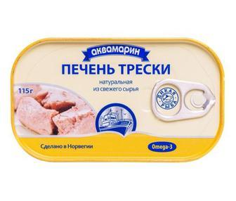 Печень трески натуральная Аквамарин 115 г