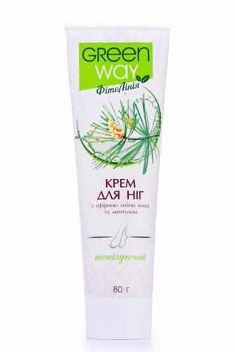 Крем для ног Green Way ФітоЛінія тонизирующий с эфирным маслом пихты и ментолом, 80мл
