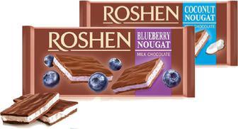 Шоколад Roshen з кокосовою і чорничною нугою мол.90г