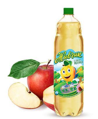 Вода газована,негазована ыз соком яблука Живчик 1л