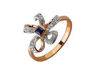 Золотое кольцо с бриллиантами и корундом Артикул 01-17445837