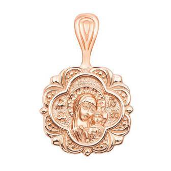 Золотая подвеска-иконка Божией Матери «Казанская». Артикул 31584
