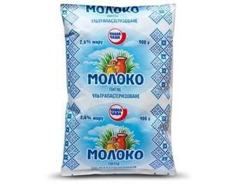 Скидка 15% ▷ Молоко питьевое ультрапастеризованное 2,5% жира, Повна Чаша, 900 г