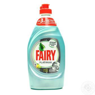 Засіб для миття посуду Fairy Platinum/Pro Derma 430/450мл