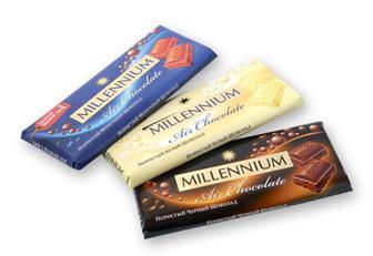 """Шоколад Premium пористий чорний, молочний, білий, """"Millennium"""" 90г"""