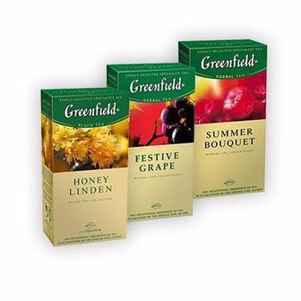 Чай черный/зеленый/травяной/белый пакетированный, 25 пак Гринфилд