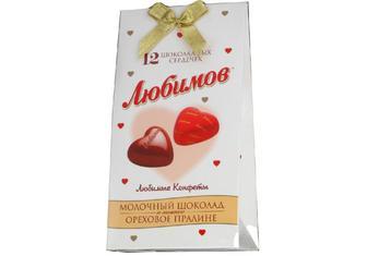 Цукерки Любімов молочний шоколад з горіховим праліне 100г